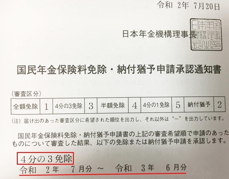 『国民年金保険料免除・納付猶予申請承認通知書』